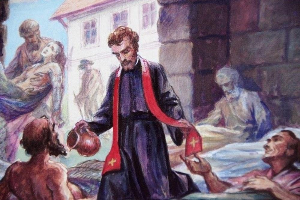 Św. Andrzej Bobola wśród dotkniętych zarazą w Wilnie (obraz Jana Molgi)